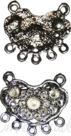 04155 Tussenstuk ornament Antiek zilver (Nikkelvrij) 25mmx25mmx2mm; oog 2mm 6 stuks