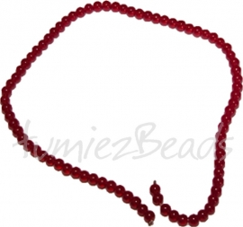03504 Glaskraal streng (±40cm) imitatie jade Rood 6mm 1 streng