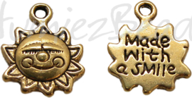 00459 Bedel zon made with a smile Antiek goud (nickel vrij) 16mmx12mm
