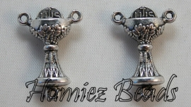 02818 Verdeler bokaal Antiek zilver 22mmx16mm 3 stuks