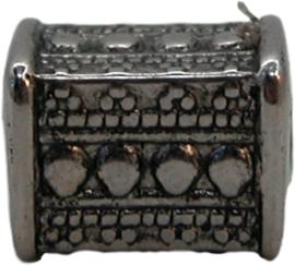 02036 Kraal rechthoek (metallook) Antiek zilver (nikkelvrij) 11mmx8mm 7 stuks