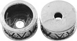 01641 Eindkap trommel Antiek zilver (Nikkelvrij) 15mmx8mm  3 stuks