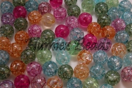 00023 Acryl Crackle kraal Mix color 14mm; gat 2mm 25 stuks