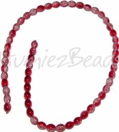 00196 Glaskraal crackle streng ±40cm Rood-Transparant 8mmx6mm 1 streng