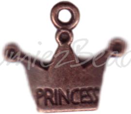 00329 Hanger kroon princes Antiek koper 19mmx17mm