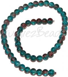03247 Glaskraal crackle streng ±40cm Blauw-bruin 8mm 1 streng
