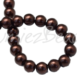 04018 Glasparel SaddleBrown 3-4mm; gat 0,5mm 1 streng ±30cm