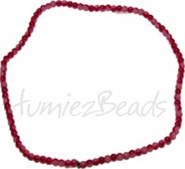 03456 Glasperle strang ±40cm Jelly Rot-weiß 4mm 1 strang