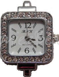 01716 Horloge bling Metaalkleurig/Chrystal 35mmx27mm 1 stuks