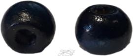 02876 Houten kraal  Donker blauw 10x9mm; gat ±3mm ±60 stuks