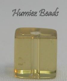 02742 Glaskraal vierkant Geel 6mm 1 streng (±30cm)