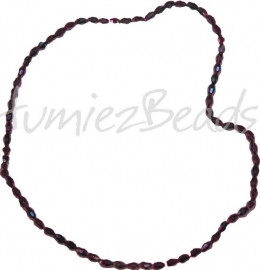 03198 Glaskraal electroplate facet ovaal streng ± 40cm Paars AB color 6mmx4mm 1 streng