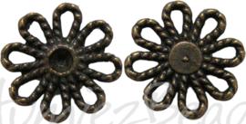00876 Tussenstuk madeliefje Antiek brons 6 stuks