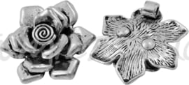 02265 Hanger roos Antiek zilver (Nickel vrij) 33mmx8mm; gat 3mm 1 stuks