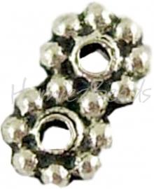 00835 Verdeler 2-gaats Antiek zilver 7mmx4mm; gat 1mm 15 stuks