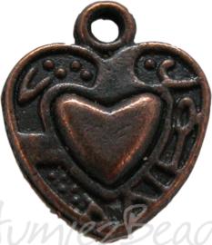 00878 Bedel hart in hart bedrukt Antiek koper
