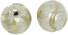 01254 Stardust kraal  Zilver- goudkleurig (Nikkelvrij) 13mmx13mm; gat 1,5mm 3 stuks