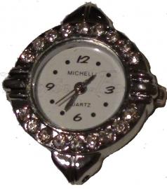 00899 Horloge bling Metaalkleurig/Chrystal  1 stuks