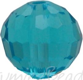 00996 Glaskraal Imitatie Swarovski 5000 round Sapphire 10mm 4 stuks