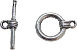 01870 Kapittelslot zeemansknoop enkel Antiek zilver (nikkelvrij) 17mmx15mm 6 stuks
