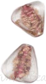 04213 Handgemaakte glaskraal Driehoek Transparant/fuchsia 18mmx17mmx6mm; gat 1mm 4 stuks