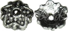 00408 Kralenkap punt sterbloem Antiek zilver (Nikkel vrij)  20 stuks