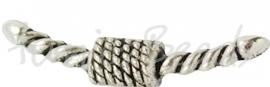 01246 Slotje voor rubberkoord Antiek zilver (Nickel vrij) 5 stuks