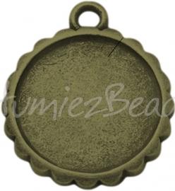 02746 Hanger cabochon setting Antiek brons (Nikkelvrij) 23mmx19mmx2mm; Binnenzijde 16mm 1 stuks