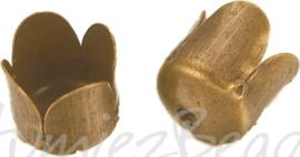 03599 Eindkap tulp Antiek brons (Nikkelvrij) 7mmx6,5mm; gat 6mm 12 stuks