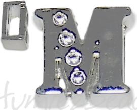 04248 Schuifkraal Letter M Metaalkleurig (Nikkelvrij) 9mmx10mm; gat 6,5mmx3,5mm 1 stuks