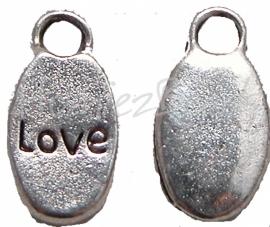 02135 Bedel love Antiek Zilver (Nikkelvrij) 16mmx9mm 6 stuks