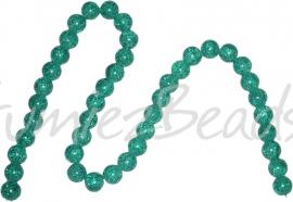 01275 Glaskraal crackle streng (±40cm) Turquoise 10mm; gat 1,5mm 1 streng