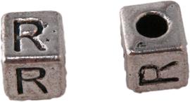 01170 Vierkante letterkraal R Antiek zilver