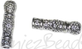 01272 Buiskraal kandelaar Antiek zilver 23mmx6,5mm; gat 3mm 5 stuks