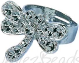 04234 Ring (verstelbaar) libelle voor strass Metaalkleurig (Nikkelvrij) 19mmx22mm; Ø 18mm 1 stuks