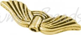 00236 Spacer vleugel Antiek goud (Nickel vrij) 21mmx6,5mm; gat 1,5mm