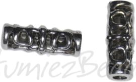 00350 Buiskraal open gewerkt Antiek zilver 18mmx7,5mm; gat 3mm 4 stuks