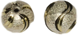 02646 Stardust kraal  Zilver- goudkleurig (Nikkelvrij) 13mmx13mm; gat 1,5mm 3 stuks