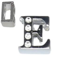 04240 Schuifkraal Letter E Metaalkleurig (Nikkelvrij) 9mmx8mm; gat 6,5mmx3,5mm   1 stuks