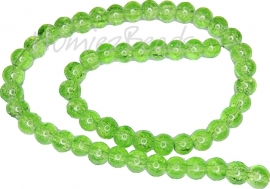 01828 Glaskraal crackle streng ±40cm Groen 8mm 1 streng