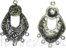 00163 Verdeler hoefijzer bloem Antiek zilver (Nikkelvrij) 42mmx26mmx2mm; oog 1,5mm 5 stuks