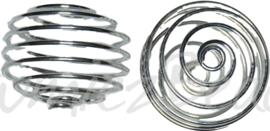 02112 Metaalkraal spiraal Zilverkleurig (Nikkelvrij) 17mmx19mm 3 stuks