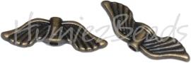 01551  Spacer vleugel  Antiek koper (Nickel vrij)  6mmx21mmx2mm; gat 1,5mm