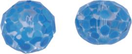 00638 Glaskraal Rondel handgeschilderd Transparant blauw 12mmx16mm; gat 1mm 1 stuks