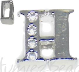 04243 Schuifkraal Letter H Metaalkleurig (Nikkelvrij) 9mmx9mm; gat 6,5mmx3,5mm 1 stuks