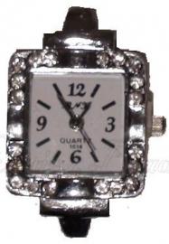 02158 Horloge bling Metaalkleurig/Chrystal  1 stuks