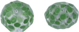 00595 Glaskraal Rondel handgeschilderd Transparant groen 14mmx18mm; gat 1mm 1 stuks
