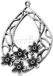 00796 Hanger druppel bloem Antiek zilver (Nickel vrij) 49mmx31mm 1 stuks