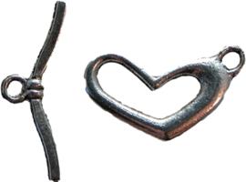 01289 Kapittelslot hart Antiek zilver 3 stuks