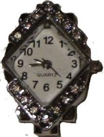 00129 Horloge bling Metaalkleurig/Chrystal  1 stuks